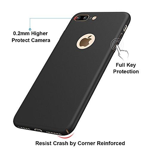 """Schwarz Sehr Dünn Hülle Schutzhülle Case + Displayschutzfolie für Apple iPhone 8 Plus (5.5"""") Vooway® MS70463 Schwarz"""