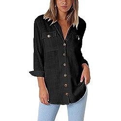ESAILQ Damen Loose Button Long Shirt Kleid Baumwolle Casual Tops Bluse(S,Schwarz)