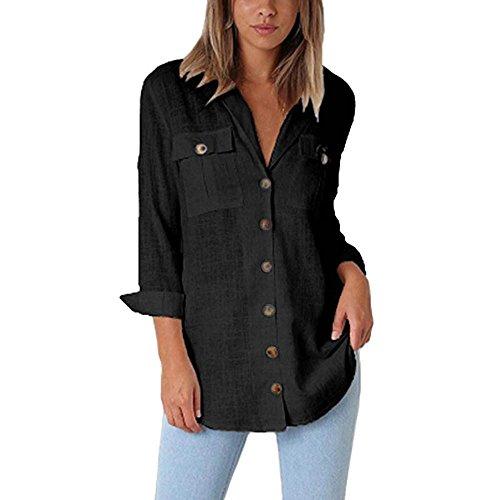 ESAILQ Damen Loose Button Long Shirt Kleid Baumwolle Casual Tops Bluse(L,Schwarz) -
