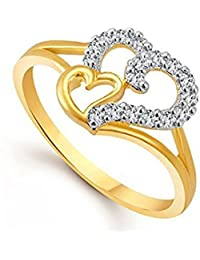 Lady Touch Gold & Rhodium Plated American Diamond Double Heart Ring For Girls And Women