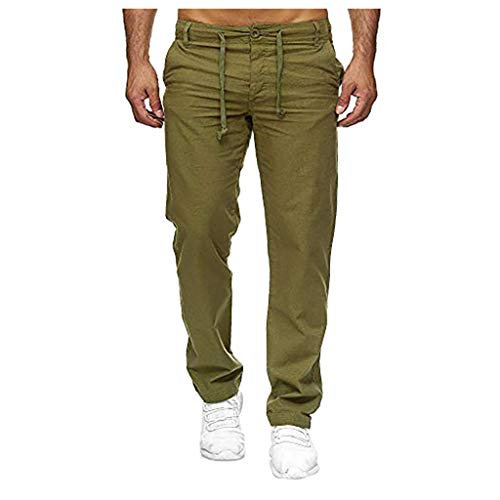 serliyMen Casual Strandhosen Leinen Hose, Leinen-Hose Lange Hose Bequeme Stoffhose aus hochwertiger Leinenmischung -