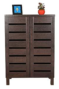DeckUp Engineered Wood 2 Door Shoe Rack (Dark Wenge, Matte Finish, Standard Size)