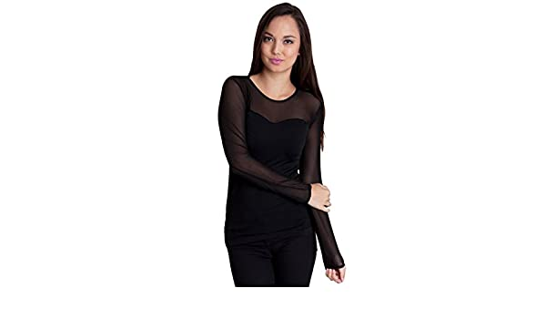 99f77f7c86fda0 Clothes Effect Woman Seamless Long Sleeve Sheer Stretchy Mesh Top, Multiple  Colors - Black -: Amazon.co.uk: Clothing