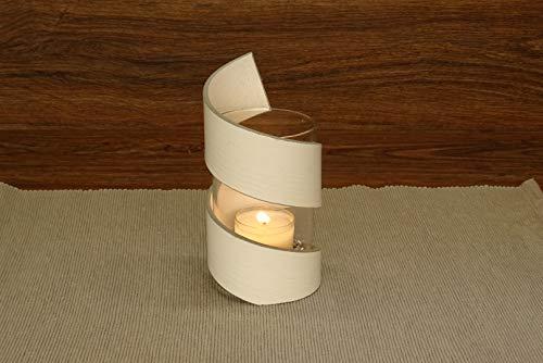 Design-Teelicht SPIRALE aus Vinyl (Weiß lackiert) / mit Dekogranulat und Kerze