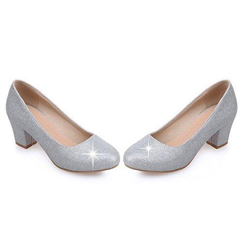 VogueZone009 Damen Ziehen Auf Mittler Absatz Pailletten Rein Rund Zehe Pumps Schuhe Silber