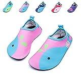 Kinder Badeschuhe Aquaschuhe Slip on Schwimmschuhe Leicht Wasserschuhe Rutschfeste Strandschuhe Barfußsocken Delphin Gummisohle für Jungen Mädchen (22-23EU, Pink)