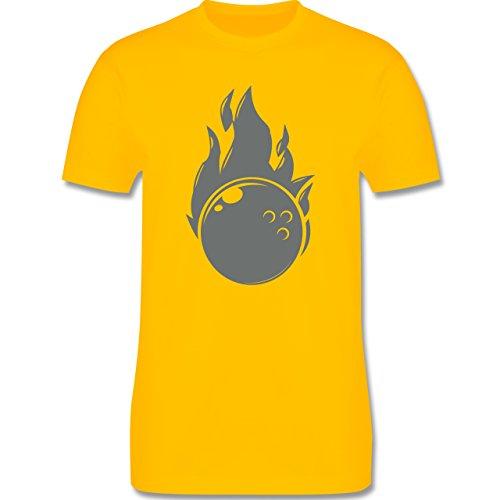 Bowling & Kegeln - Bowling Flammen Ball einfarbig - Herren Premium T-Shirt Gelb