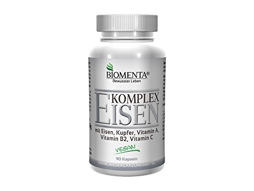 BIOMENTA® EISEN KOMPLEX | mit Eisen, Kupfer, Vitamin A, Vitamin B2, Vitamin C | 3 Monatskur | 90 Eisen-Kapseln | VEGAN | Keine bitteren Eisen-Tabletten!!!