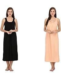 f65a95dc46 Ishita Fashions Women s Cotton Slip Nighty (Free Size