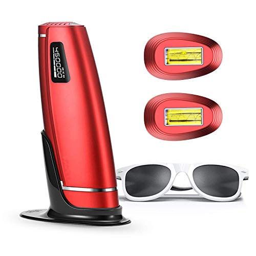 IPL Geräte Haarentfernung IPL Haarentfernungsgerät 3 in 1 600000 Blitze Schmerzlos Laser Rasierer Haarentfernung Gerät Mit HR SC RA Funktion Für Körper, Gesicht, Bikini und Unterarme (Rot)