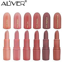 Moisturizing Lipstick, Aliver 6 Colors Lipsticks Set Matte for Girls Women Waterproof Long-Lasting Moisturizing Makeup Lipsticks, Nude and Natural Color Dark