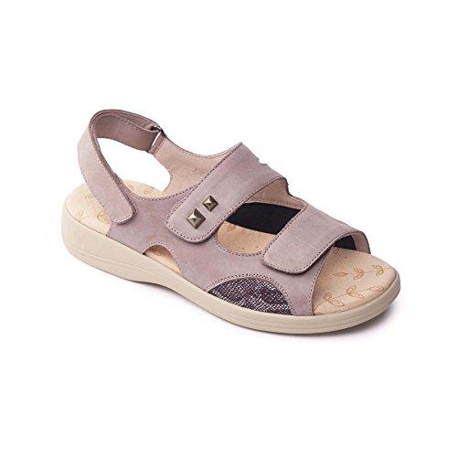 Padders Grandi donne di cuoio sandalo 'Gem'   Profondo e di grandi dimensioni   EEEE super grande larghezza   30 millimetri tallone   calzascarpe libero Taupe