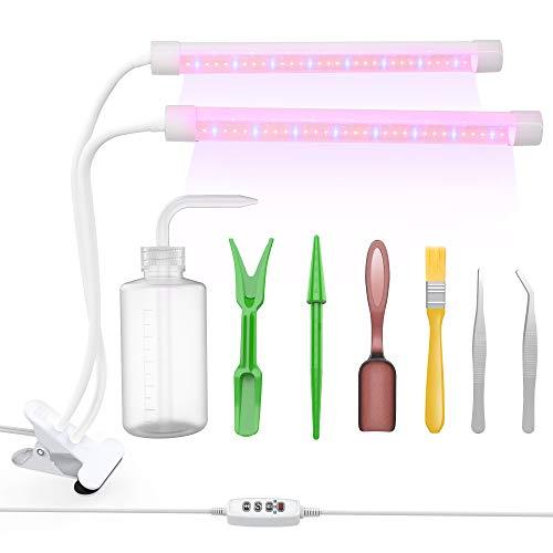 Anlage wachsen Licht (Pflanzenlampe) mit Garten-Werkzeug-Sätzen 7pcs, Lightswim 64 LED wachsender Lampe 18W 3/9 / 12H Timer, Spektrum-Schaltung, justierbarer Gooseneck für