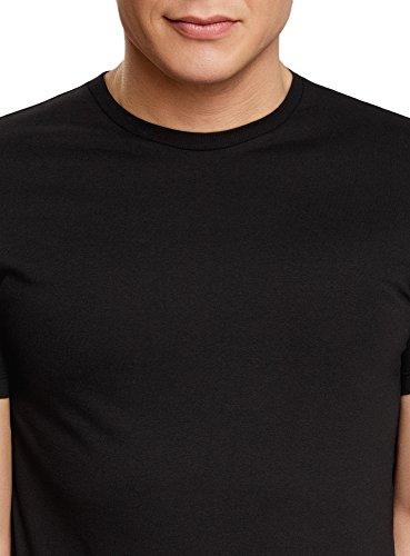 oodji Ultra Herren Gerades Tagless T-Shirt Basic Schwarz (2900N)