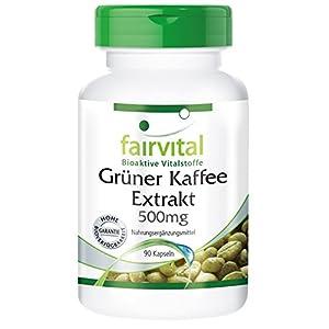 Grüner Kaffee Extrakt 500mg – HOCHDOSIERT – standardisiert auf 45% Chlorogensäure – VEGAN – 90 Kapseln