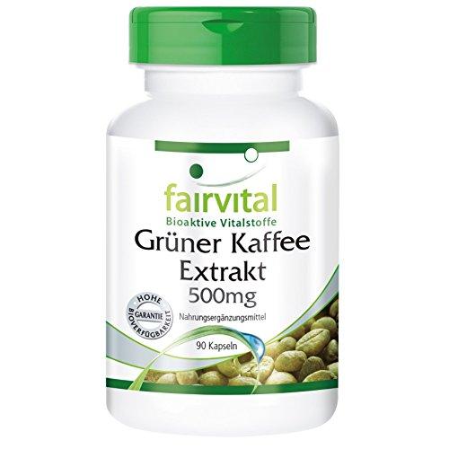 Grüner Kaffee Extrakt 500mg - für 1 Monate - VEGAN - HOCHDOSIERT - 90 Kapseln - standardisiert auf 45% Chlorogensäure