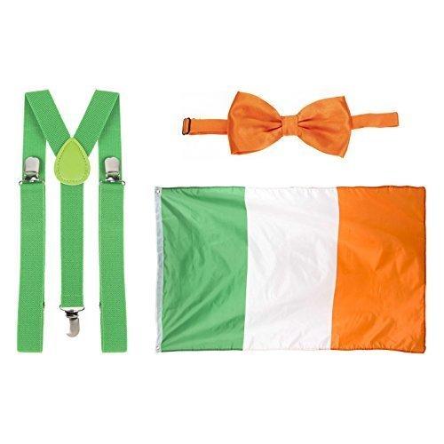St Patricks Tag grün Hosenträger, orange Fliege & Flag Kostüm
