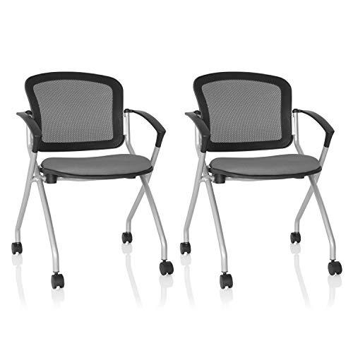 hjh OFFICE 760002 Besucherstuhl Priority Basic Stoff/Netz Grau klappbarer Stuhl mit Rollen und Armlehnen 2er Set -