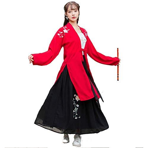 Susichou Hanfu chinesischer Stil rot schwarz Lange Zöpfe Schlinge Rock Bestickt Performance Kostüm Fee Rock Abschluss Foto Gr. L, - Rote Und Schwarze Fee Kostüm