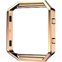 Protector/Accesorio Frame para Fitbit Blaze Relojes Inteligente - Aohro Metal de Acero inoxidable Titular Marco Shell para Fitbit Blaze Smart Watch - Oro rosa