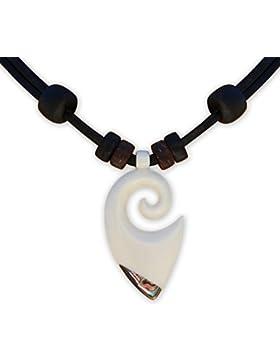 HANA LIMA ® Freundschaftskette Halskette Surferkette Lederkette Koru Maori Neuseeland Surferhalskette