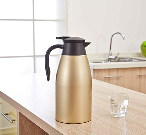 Sino Big Capacity Stainless Steel Double-Wall Vacuum Insulated Coffee Pot Thermal Carafe Insulation Jug Flask/ Tea Pot/ Water Pitcher with Press Button 2.0 Liter 3 Color by SINO