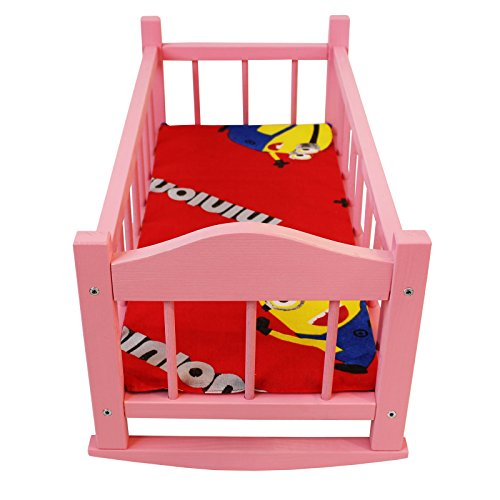Obique Children's Wooden Toy Pink Pine Rocking Bed with Mattress for 18-Inch Dolls, with Mattress