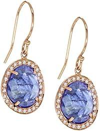 Celine d'Aoust Damen-Ohrringe Roségold 14 k (585) Tansanit Blau Tropfenschliff