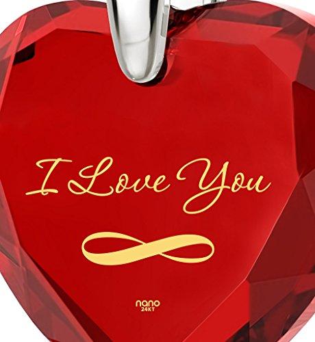Pendentif Coeur - Bijoux Romantique en Argent 925 avec I Love You et le symbole de l'infini inscrits à l'Or 24ct sur un Zircon Cubique en Forme de Coeur, 45cm - Bijoux Nano Rouge