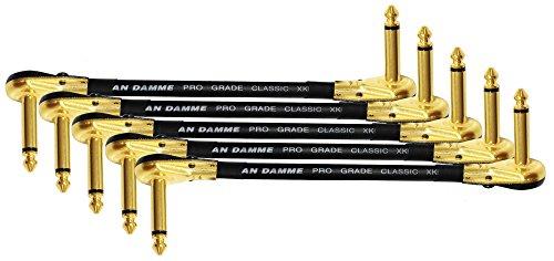 """5–Van Damme Pro Grade Classic XKE–15,2cm (15cm)–S-förmigen, Premium, ultraflexibel Multi–geschirmt Gitarre Bass Effekte Instrument, Patch-Kabel–mit Premium vergoldet, Low-Profile, rechts gewinkelt Pancake Anschlüsse Typ TS (6,4mm) (diese S–geformte Kabel ist auch bekannt als """"Z–Kabel)"""