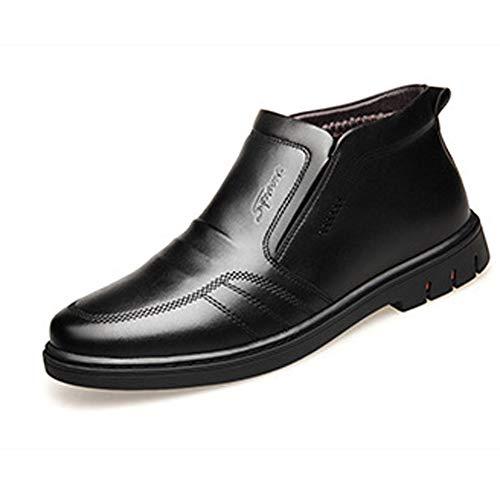 XIGUAFR Chaussure Botte de Fourrure Interne Garde au Chaud pour Homme Hiver Haute en Cuir Souple Papa Boot Chaussure a Enfiler au Loisir Antidérapant