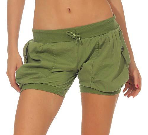 Malito Damen Shorts in Unifarben | lässige Kurze Hose | Bermuda für den Strand | Pants - Hotpants 6087 (grün, XL)