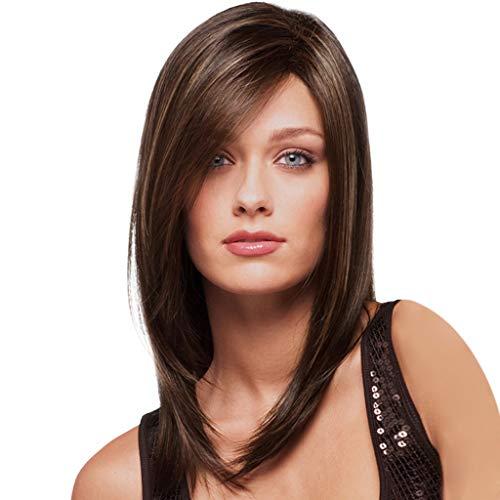 ar Braunes Haar Haar Perücke Natürliche Haarperücken Braunes Picking färbt langes gerades Haar teilweise lange Bobo Wellenkopfperücke 35CM ()