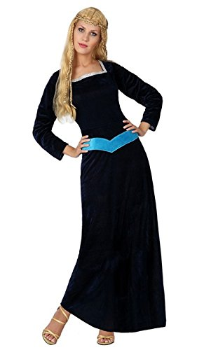 Atosa–5034–Kostüm–Dame mittelalterlichen–Erwachsene–Größe 2 (Mittelalterliche Lange Blonde Perücke)