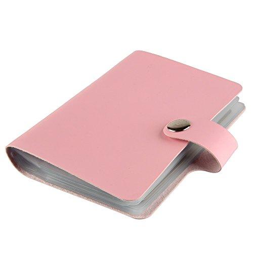 Beauty7 Etui/Sac / Dossier 40 Feuilles Pochoir Pour Plaque Stamping Nail Art en Cuir Vernis a Ongles Tampon Modele Support de Rangement Album 9.5 X14.5 cm Rose Clair