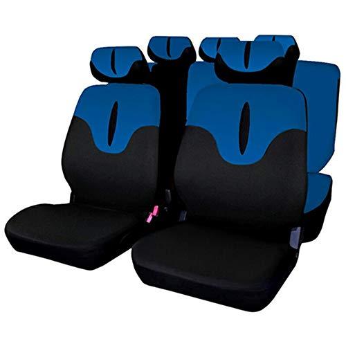 XY COOL Set Completo di Coprisedili per Auto Macchina Seat Cover Universali Protezione per Sedile di Poliestere - Set Completo di 9 (Blu)
