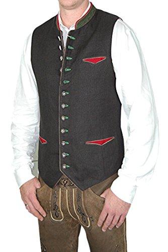 Almsach Trachtenweste Gilet Camillo Leinen, Größe:64;Farben:schwarz - espresso