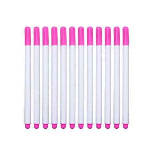 Ganquer 12 STK. Wasser Löschbar Stift Stoff Marker Lösliche Zubehör Maß Stift Nützliche - Rosa, Free Size -