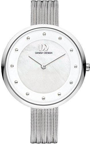 Danish Design Women's Quartz Watch with White Dial Analogue Display and Silver Stainless Steel Bangle DZ120514