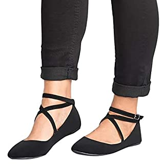 Womens Court Shoes Classic Pointed Sandals Closed Toe Flats Comfort Ankle Strap Sandals Dress Ballet Pumps Flat Shoes Ladies Girls Casual Summer Shoe Black