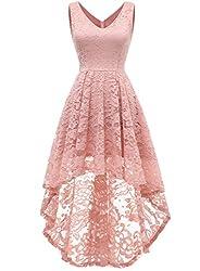 MuaDress 6666 Damen Ärmellose Cocktailkleider Abendkleider Knielang Asymmetrisches Partykleid Brautjungfernkleid von V-Ausschnitt mit Spitze Blush M