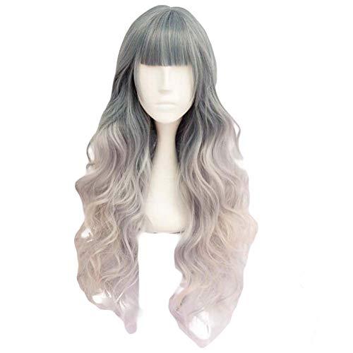 Blue Ash/fading Rose clair 65 cm 2 cosplay ton pleine perruque de longs cheveux bouclés