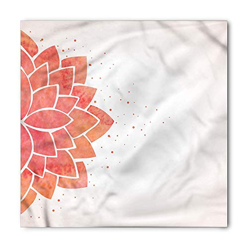 Lotus Flower Bandana, Aquarelle Half Flower, Unisex Head and Neck Tie, Printed Unisex Bandana Head and Neck Tie Scarf Headband, Multicolor S 60x60cm Lotus Flower Dress