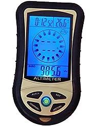 Digital LCD 8en 1/brújula + Altímetro + Barómetro + Termómetro + Previsión meteorológica + Historia + Reloj + Calendario para senderismo Caza tat-302