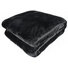 Auralum - Manta Polar Suave para Sofá o Cama - Color Negro - Tamaño XXL(240 x 220 cm)