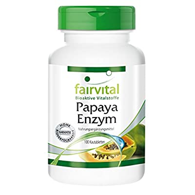 Fairvital - Papaya Enzyme with Papain, Amylase & Protease - Tasty & Chewy Vegetarian Tablets - 100 Pack from fairvital