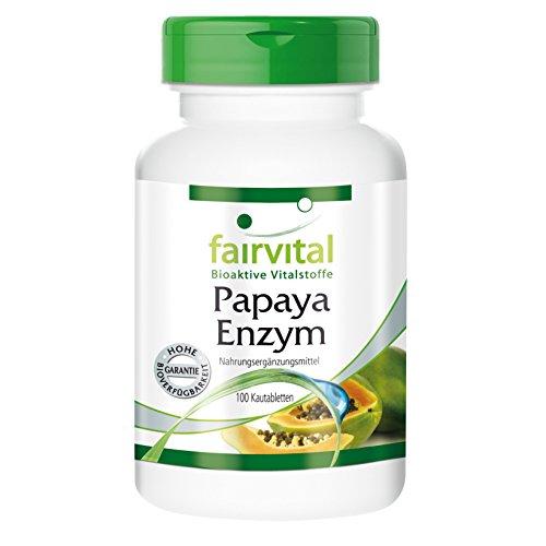 Verdauung Tabletten (Papaya Enzym mit Papain, Amylase und Protease - 100 Tabletten -leckere Kautabletten - Bringt die Verdauung auf Trab)