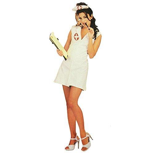 Damen Ungezogene Krankenschwester Rubies Neu Lack-Optik Vinyl Sexy Damenmode Kleid Kostüm - Weiß, Größe - Klein - UK 8-10 - Us 6-10 (Vinyl Krankenschwester Kostüm)