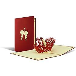 Schöne Karte zum Valentinstag aber auch für Hochzeiten super geeignet, Karte für Verliebte, Hochzeitskarte, Hochzeitskarten, edel, elegant, hochwertig, Paar küsst sich beim öffnen der Karte I L05