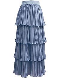 ec4ea5fff4 PengGengA Mujeres Falda De Tul Tulle Capas De Falda Cintura Elástica Midi  Falda Plisada Pastel